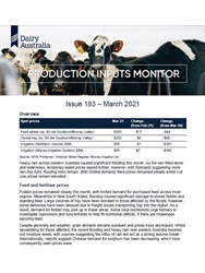 The Production Inputs Monitor is a monthly update around key farm inputs, including water, hay and grain, fertiliser and weather.