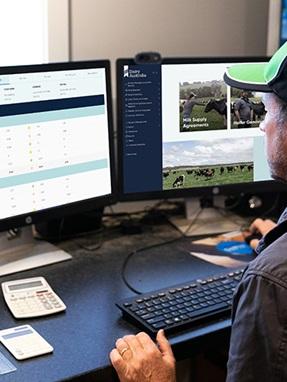farmer at computer