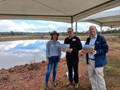 DWER's Bree Brown, Western Dairy' Peter Evans and Dan Parnell at the Haddon family dairy farm in Busselton WA